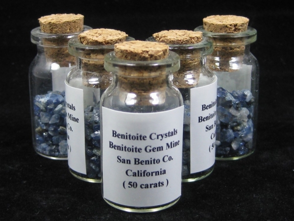 Benitoite Crystal Bottle, 50 Carats