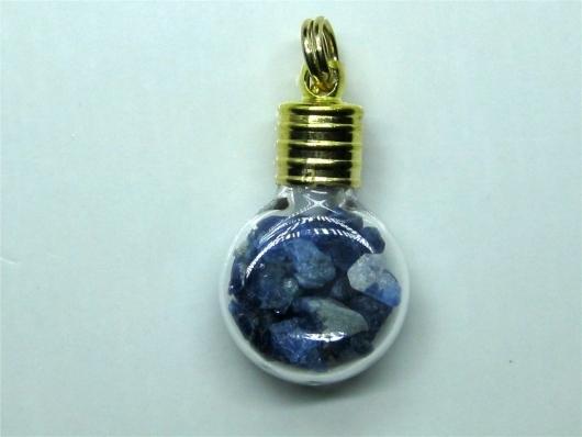 Benitoite Crystal Charm / Pendant, Flask