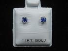 Benitoite Stud Earrings, .33 tcw, 14k White Gold