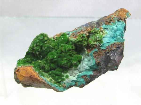 Conichalcite, Rosasite, Calcite Ojuela Mine, Mapimi, Durango, Mexico