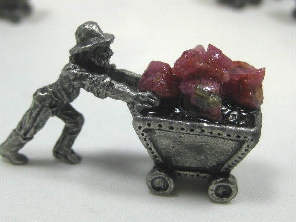 Pewter Miner Ore Carts with Ruby