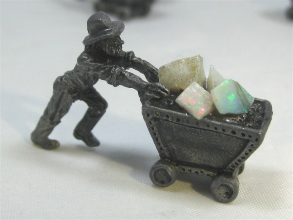 Pewter Miner Ore Carts with Opal
