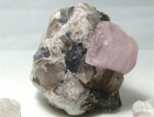 Beryl var. Pink / aka Morganite, with Smoky Quartz & Lepidolite, (SCab) Oceanview Mine, San Diego County, California, USA