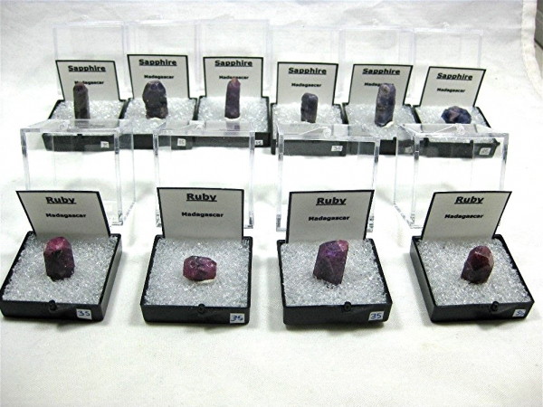 Lot of 10 Ruby and Sapphire crystals from Madagascar