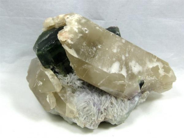 Tourmaline (Indicolite), & Quartz,  Stewart Mine, Pala Dist., San Diego Co., California