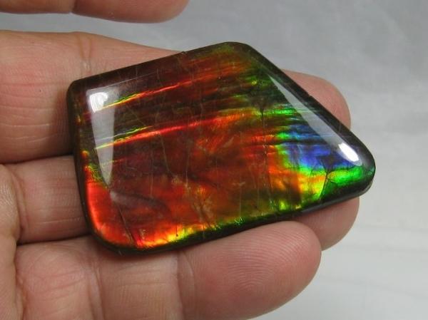 Ammolite Cabochon, Alberta, Canada, 103 carats, Single Solid Piece, AA Grade