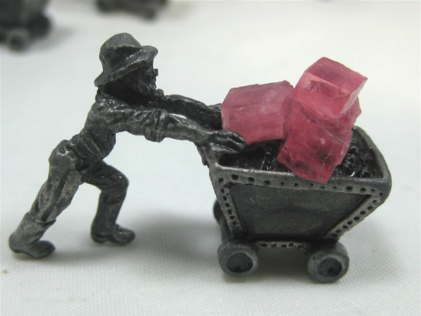 Pewter Miner Ore Carts with Rhodochrosite